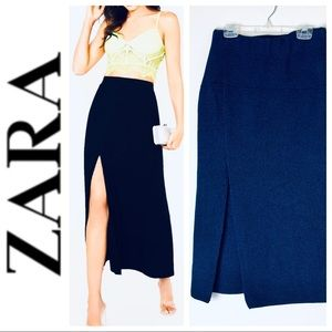 BRAND NEW ZARA Knit Slit Blue SKIRT